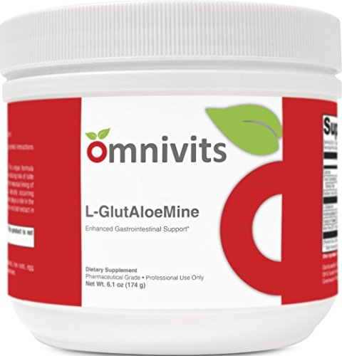L-GlutAloeMine Enhanced Gastrointestinal Support | L-Glutamine with Arabinogalactan & Licorice Root Extract & Aloe Leaf Extract | 6.1 oz 30 Serving | by Omnivits Pharmaceutical Grade Supplements by Omnivits