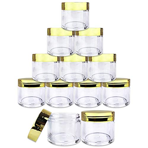 Scrub Top Gold (Beauticom 12 Piece 1 oz. USA Acrylic Round Clear Jars with Flat Top Lids for Creams, Lotion, Make Up, Cosmetics, Samples, Herbs, Ointment (12 Pieces Jars + Lids, GOLD))