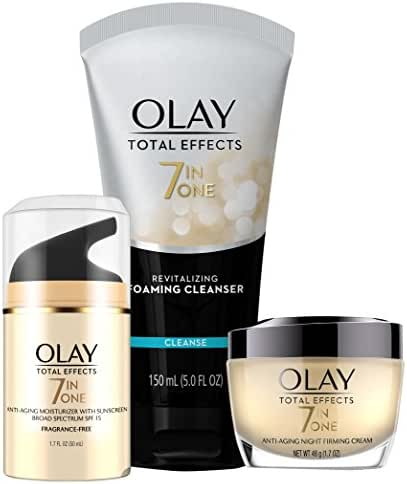Face Wash by Olay Total Effects Day to Night Anti-Aging Skincare Kit with Cleanser, SPF & Night Cream