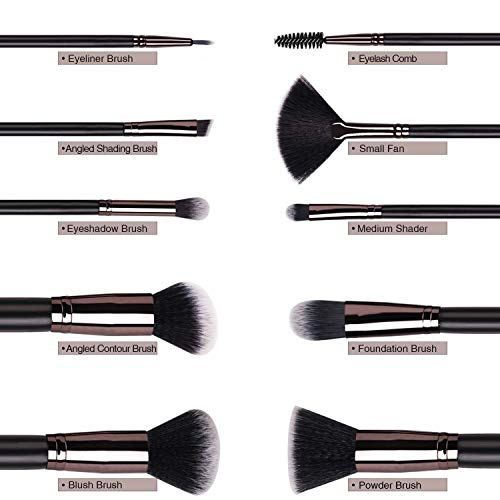 Makeup Brushes Set, 10pcs Makeup Brushes of Foundation Powder Concealers Eeyshadow for Liquid Cream Cosmetics Blending Make UP Brushes Tool