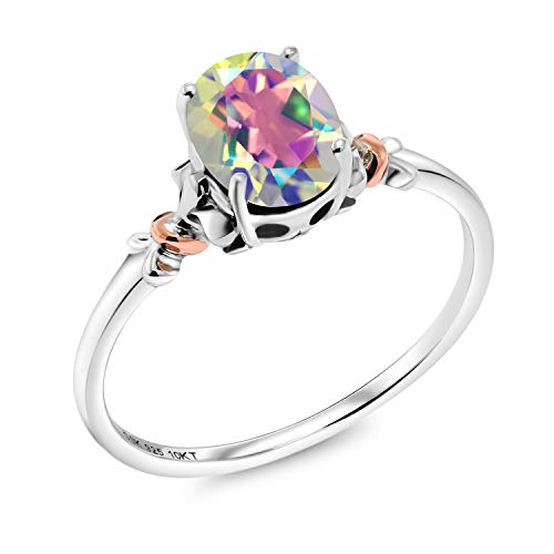 Gem Stone King 925 Sterling Silver and 10K Rose Gold Ring Oval Mercury Mist Mystic Topaz 0.80 cttw (Size 9) ()