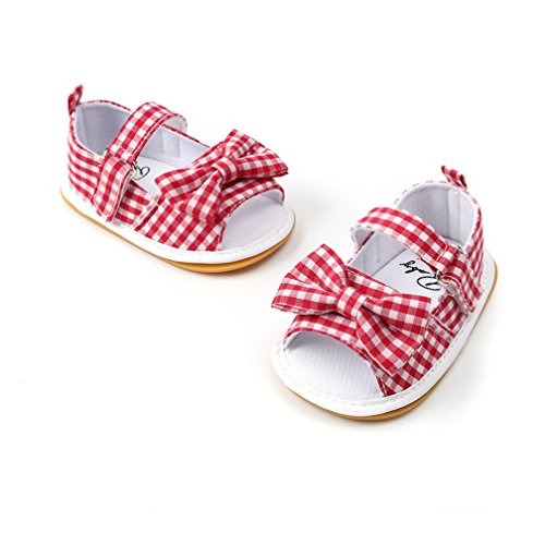 CoKate Baby Toddler Boy Girls Bow Knot Sandals First Walker Shoes (18-24Month, Blue) (0-6 Months, red) by CoKate (Image #5)