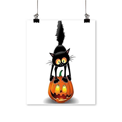 Modern Painting Black Cat on Pumpkin Head Spooky Cartoon Characters Halloween Humor Themed Art Orange Artwork for Home Decorations,12
