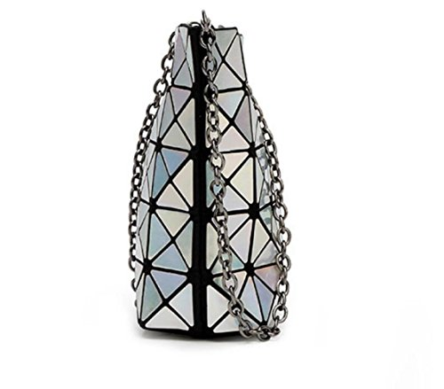 Package Silver Bag Treasureblue Chain Shoulder Handbag Geometric Ladies Folding Women's MYLL qn1wXvFX