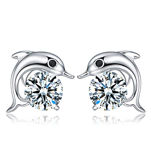 - Orris Diamond Cartoon Dolphin Sterling Silver Cute Ear Stud Earrings for Women Girls