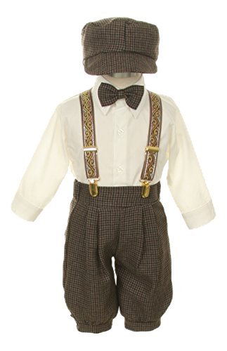 Vintage Dress Suit-Bowtie,Suspenders,Knickers Outfit Set for Baby Boys & Toddler, Dark Taupe/Ivory-12 Months -