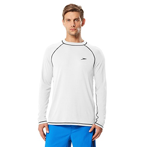 Speedo Men Easy Long Sleeve Swim Tee, White, Medium