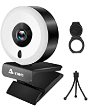 Streaming WebCam with noise reducing Microphone,Autofocus Feature,built in Adjustable brightness Ring Light,FHD 1080P USB Webcam for PC Desktop Laptop for Zoom,TV conference,YoouTube,Gaming