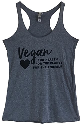 The Bold Banana's Women's Vegan for Health Planet and Animals Tank Top - S - Grey - Bold Animal