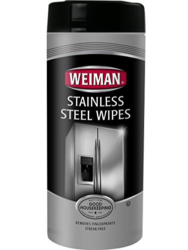 Weiman Stainless Steel Wipes - Removes Fingerprints, Residue, Water Marks and Grease From Appliances - Works Great on Refrigerators, Dishwashers, Ovens, Grills and More - 28 Count (Steel Finger)