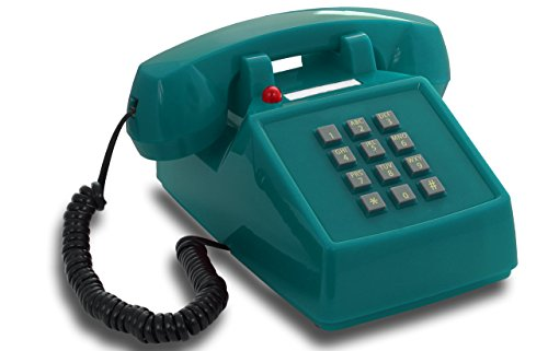 Price comparison product image OPIS PushMeFon cable: 1970s inspired fixed-line push-button telephone with classic metal bell ringer (light blue)