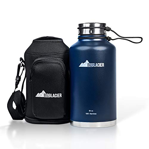 BioGlacier | Premium 64oz Stainless Steel Water Bottle Growler - Includes FREE Carry Case with Pocket - Sweatproof Double Wall Vacuum Insulated - Keeps Drinks Cold for 24 Hours ()