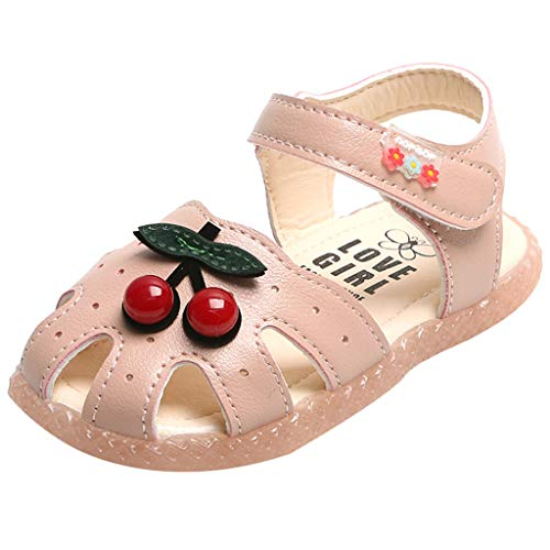 Tantisy ♣↭♣ Baby Girls Open Toe Sandals Summer Soft Microfiber Cherry Casual Flat Shoes for Big Kids/Little Kids/Toddler