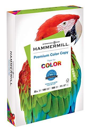 Hammermill Paper, Premium Color Copy Paper, 11 x 17 Paper, Ledger Size, 32lb Paper, 100 Bright, 1 Ream / 500 Sheets (102660R) Acid Free Paper, White ()