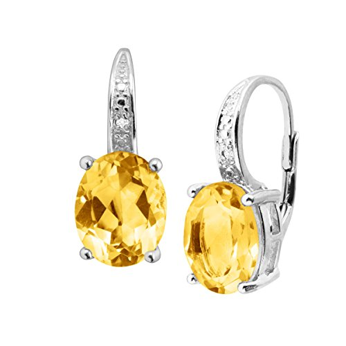 4 ct Natural Citrine Drop Earrings with Diamonds in Sterling Silver