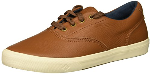 SPERRY Boys' Striper II Leather Boat Shoe, tan, 6 Medium US Big Kid