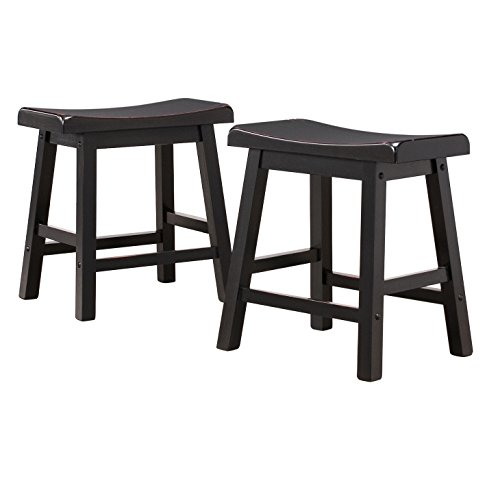 ModHaus Living Set of 2 Black Sandthrough Country Style Saddle Back Solid Wood Stool – Chair Height – Includes (TM) Pen Review