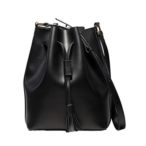 La vogue Bolsa Cuero para Mujer Chica Cubo Bolsa con Lazo Bolsa de Bandolera Casual Negro