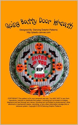 Halloween Yarn Wreath Diy (Going Batty Door Wreath: Halloween Plastic Canvas)