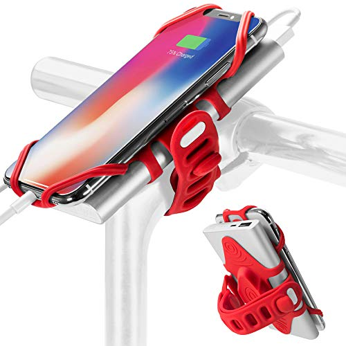 - 2-in-1 Portable Charger Bike Phone Mount, Bicycle Stem Handlebar Power Bank Cell Phone Holder for iPhone Xs Max XR X 8 7 Plus Samsung Galaxy S10 S9 S8 Note 9 Smartphone, Bike Tie Pro-Pack (Red)