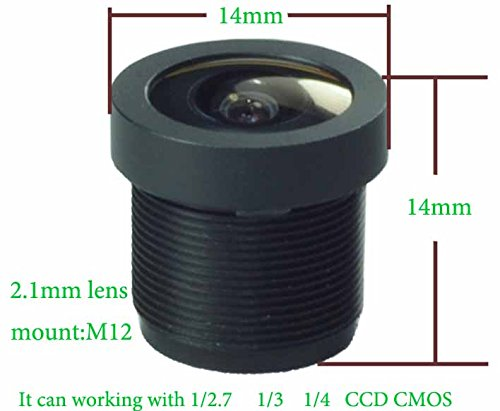 Wide Angle 2.1mm 1080P Board Lens Black for Security Camera CCTV Surveillance
