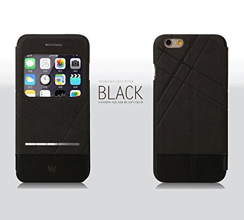 """iPhone 6 Case, [DeFaith Style Series] Smart Window View Front Flip Cover Leather Folio Case for Apple iPhone 6 4.7"""" Release for 2015 - Black"""