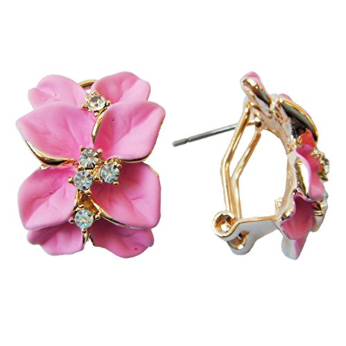 Generic 18k Gold Plated Clear Crystal Pink Enamel Leaves Flower Omega Earrings
