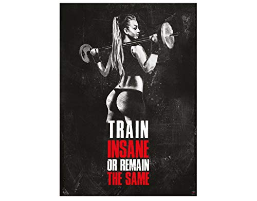 GREAT ART Motivational Workout Poster 24.4x16.5in (59,4x42cm) Gym Fitness Quotes - Train Insane or Remain The Same Nr.11