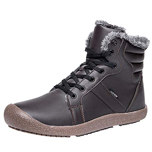 Mysky Couple Women's Warm Leather Running Sneakers Shoes Ladies Casual Solid Outdoor Running Skiing Boots Brown]()
