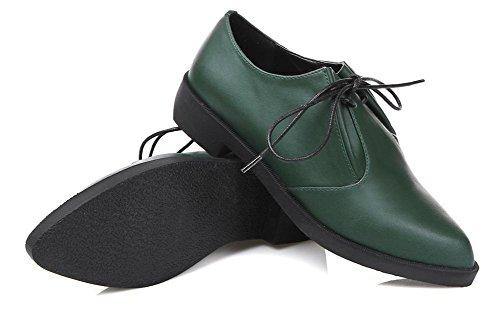 Zapatos de piel Primavera New Soft Split mujeres 2017Viviendas cortan Lace Up loafters Mujeres Zapatos con Punta Externa Casual Shoes verde