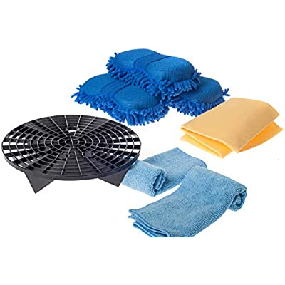 Silvergent - Grit Trap Filter Guard with 3-Pack Microfiber Chenille Sponges, Complete with 2 Microfiber Towels and 1 Cloth Chamois: Automotive