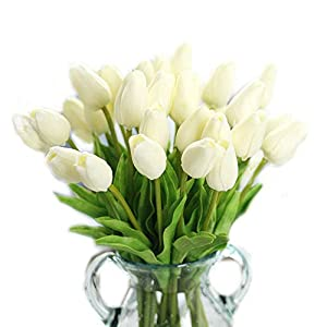 cn-Knight Artificial Flower 30pcs 13'' Faux Tulip Real Touch PU Flower for Wedding Bridal Bouquet Bridesmaid Home Décor Office Hotel Baby Shower Prom Centerpiece Door Wreath(Pure White) 21