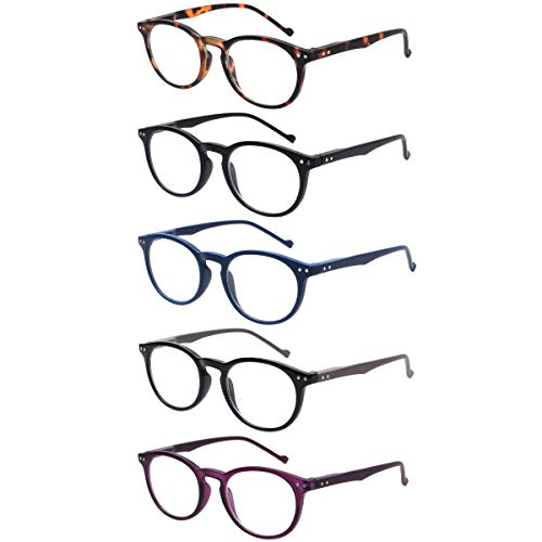 Multi Color Frames Reading Glasses - Reading Glasses 5 Pair Stylish Color Retro Round Spring Hinge Readers for Men and Women (5 Pack Mix Color, 1.75)