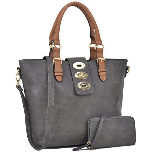Dasein Womens Large Designer Tote Satchel Laptop Bag Fashion Handbag Shoulder Bag Purse