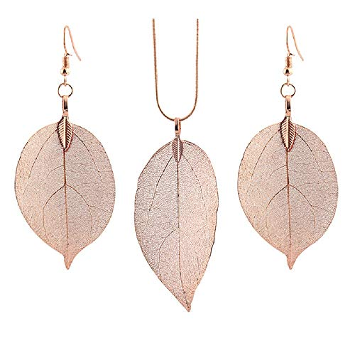 Unique Long Real Natural Filigree Leaf Pendant Necklace Dangle Drop Earrings Handmade Jewelry Set-Rose Gold