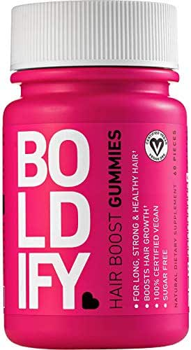 BOLDIFY Biotin Gummies for Hair Growth (5000 mcg) Sugar Free & Vegan, All Natural, Hair Vitamins for Skin & Nails (Strawberry) Fast Acting, Lifetime Guarantee 1 Month Supply