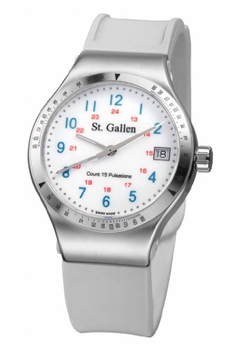 St. Gallen Disinfectable Watch - Florence Nightingale Collection - Quartz Watch, Counter For Pulsation Calibration, Ceramic White Color Dial - Florence Counter