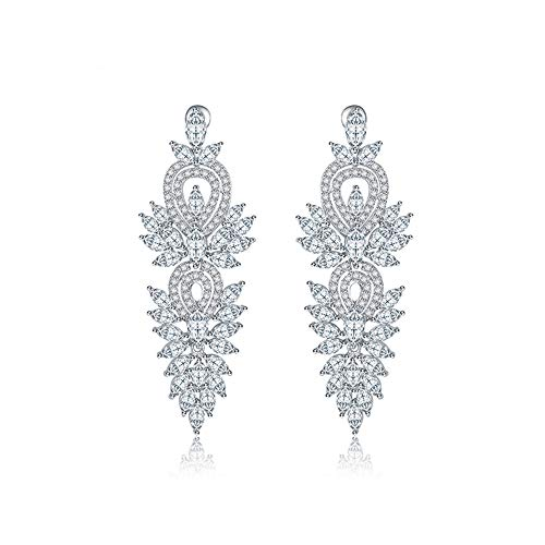 Jewelry Vintage Retro Estate (Vogzone Long Way Silver Tone Long Leaf Statement White Cubic Zirconia Crystal Dangle Earrings for Women Bridesmaid Fashion Wedding Jewelry Gift)