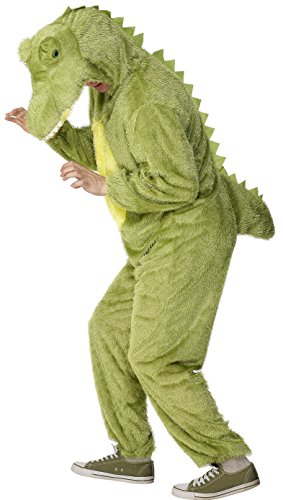 Smiffy's Adult Unisex Crocodile Costume, Jumpsuit with Hood, Party Animals, Serious Fun, Size L, 31671