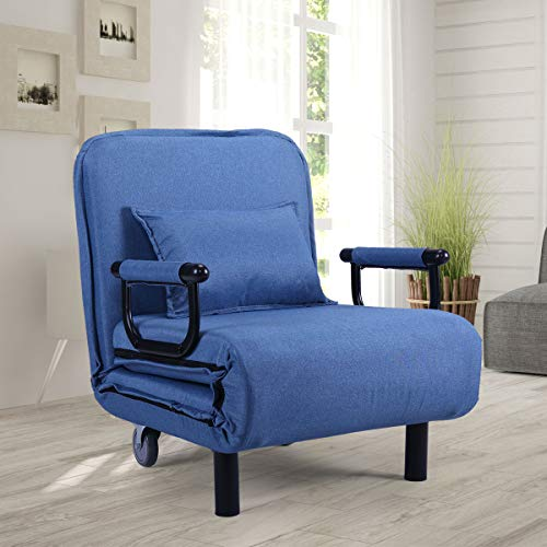Blue Sofa Bed Arm Chair Convertible Single Dorm Room Couch R