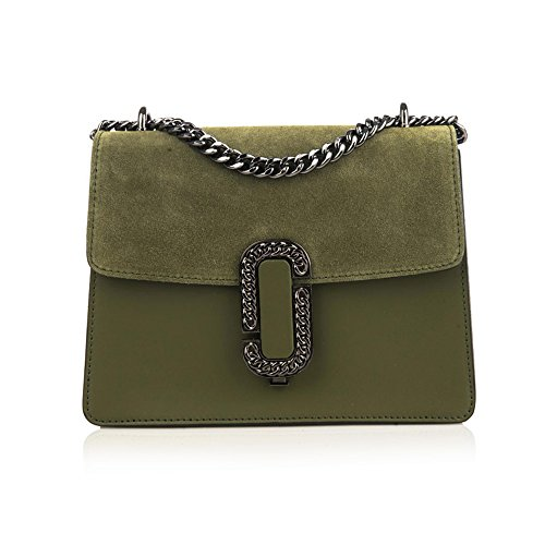 leather clutch flap Baugette green mini GENEVRA suede olive and chain with and metal bag accessory smooth AO5qxRwv