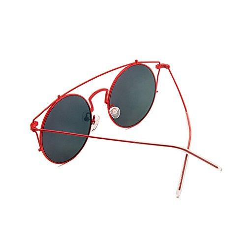 Negro LIZHIQIANG Grande Rojo Personalidad De Color De De La Sol Cara Redondas Caja Femenina Gafas De Gafas Conducción Retro Y Americana Huecos Europea De Moda Polarizador Sol O4xrwOFq