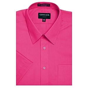 Guytalk Men's Solid Short Sleeve Dress Shirt