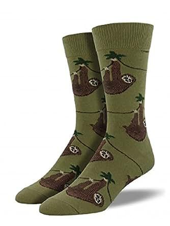 """Socksmith Mens Novelty Crew Socks """"Sloth"""" - Olive"""