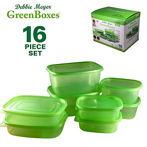 Debbie Meyer GreenBoxes, Food Storage Containers with Lids, Keep Fruits, Vegetables, Baked Goods & Snacks Fresher Longer!  BPA Free, Microwave & Dishwasher Safe-  16 Piece Set ()