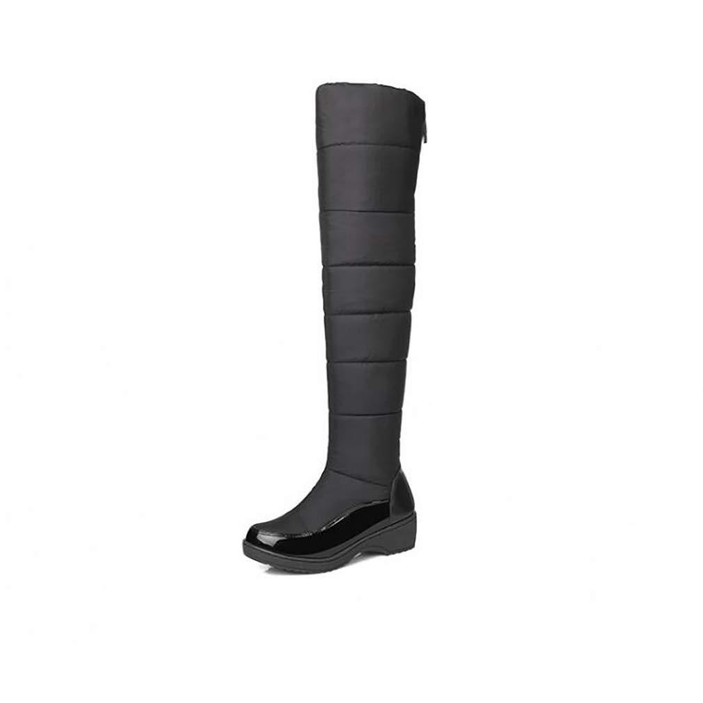Hy Frauen-hohe Aufladungen Baumwolltuch Winter-warme windundurchlässige Snowproof Schnee-Aufladungen Stiefel/Damen unten warme Auf-Knie Aufladungen/Skifahren-Schuhe (Farbe : Schwarz, Größe : 35)