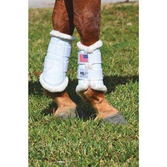 Dressage Sport Boot (DSB, for Horses, Large, Glossy White with Flag, - Horse Boots Dressage