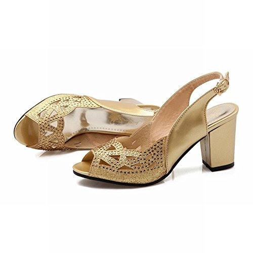 Peep Heels Toe Shoes on Slip Slingback and Court High Pumps Block Glitter Sandals YE Party Gold Womens Summer xqfwIpxg