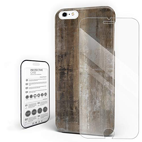 Compatible with iPhone 6 Plus Case and iPhone 6s Plus Case, Hard PC Back Phone Case with Tempered Glass Screen Protector Interior Design Old Concrete Wall Shockproof -
