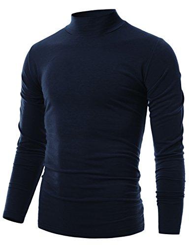 Ohoo Mens Slim Fit Soft Cotton Pullover Light Mock Turtleneck Neck/DCT020-NAVY-M